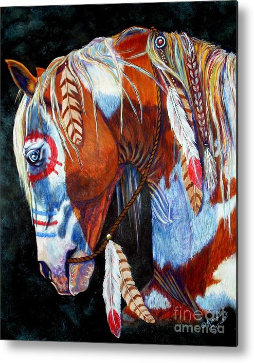 Indian Metal Print featuring the painting Indian War Pony by Amanda Hukill