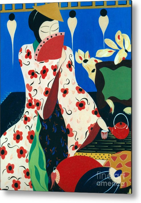 #japanese Metal Print featuring the painting Japanese Tea by Jacquelinemari