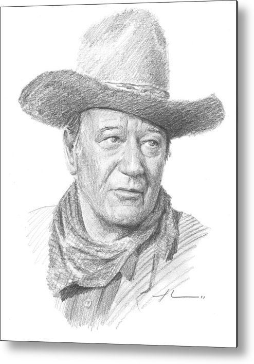 Www.miketheuer.com Metal Print featuring the drawing John Wayne Pencil Portrait by Mike Theuer