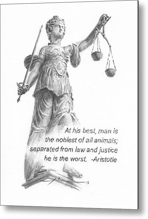 <a Href=http://miketheuer.com Target =_blank>www.miketheuer.com</a> Lady Justice Statue Pencil Portrait Metal Print featuring the painting Lady Justice Statue Pencil Portrait by Mike Theuer