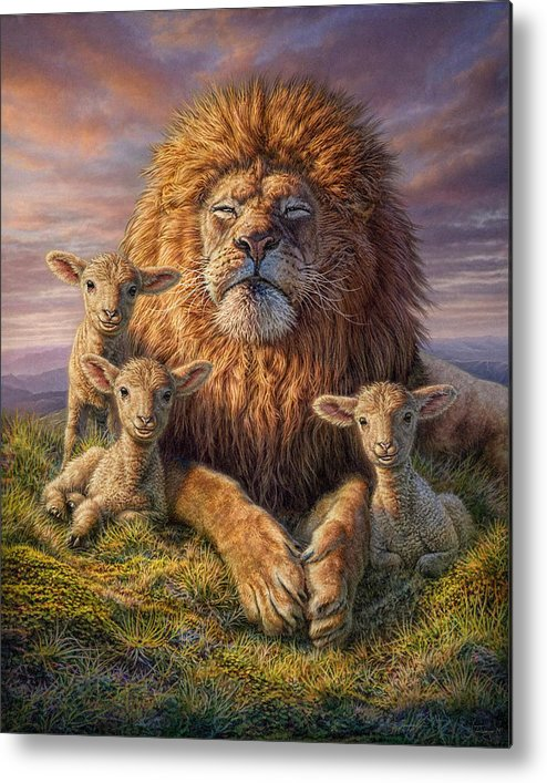 Lion Metal Print featuring the mixed media Lion and Lambs by Phil Jaeger