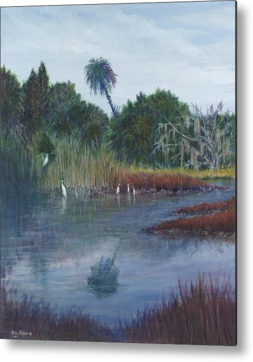 Landscape Metal Print featuring the painting Low Country Social by Ben Kiger