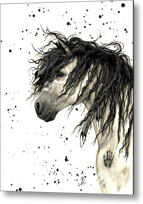 Mustang Horse Art Metal Print featuring the painting Majestic Grey Spirit Horse #44 by AmyLyn Bihrle