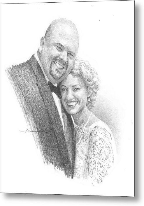 Www.miketheuer.com Married Hug Pencil Portrait Metal Print featuring the drawing Married Hug Pencil Portrait by Mike Theuer