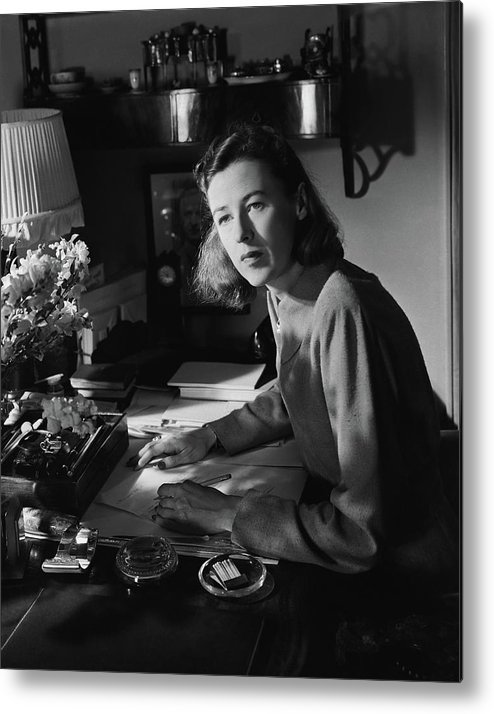 Indoors Metal Print featuring the photograph Mary Cushing At A Desk by Horst P. Horst