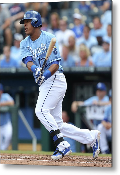 Salvador Perez Diaz Metal Print featuring the photograph Miami Marlins V Kansas City Royals by Ed Zurga