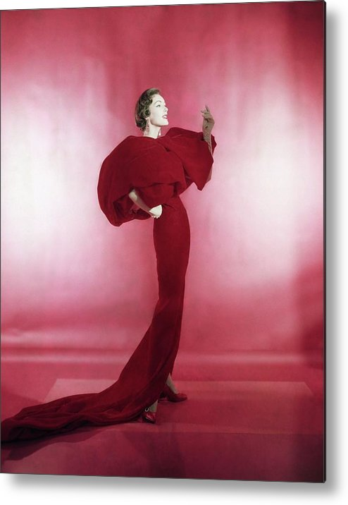 Studio Shot Metal Print featuring the photograph Model Wearing Red Evening Dress by Horst P. Horst