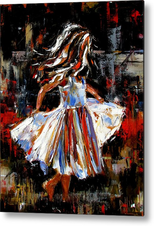Child Metal Print featuring the painting My Dress by Debra Hurd