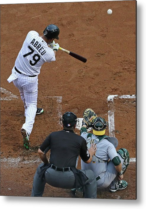 American League Baseball Metal Print featuring the photograph Oakland Athletics V Chicago White Sox by Jonathan Daniel