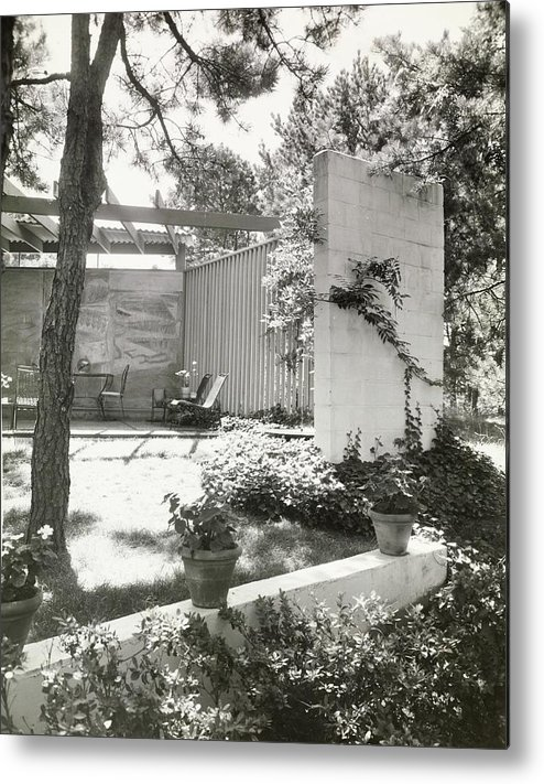 Outdoors Metal Print featuring the photograph Patio With Slate Fence by Paul E. Genereux