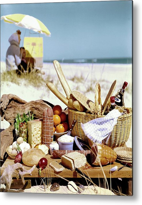 Still Life Metal Print featuring the photograph Picnic Display On The Beach by Stan Young