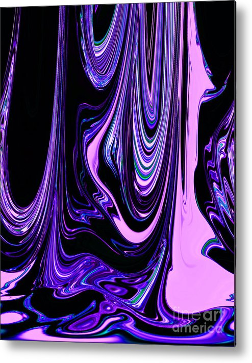 Pink Purple Black Colorful Ribbons Of Water Flowing Together Abstract Design Metal Print By Adri Turner