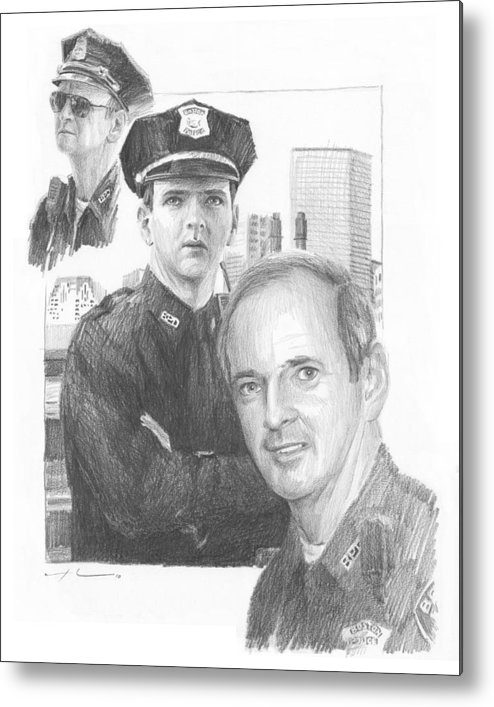 <a Href=http://miketheuer.com Target =_blank>www.miketheuer.com</a> Police Officer Retired Pencil Portrait Metal Print featuring the drawing Police Officer Retired Pencil Portrait by Mike Theuer
