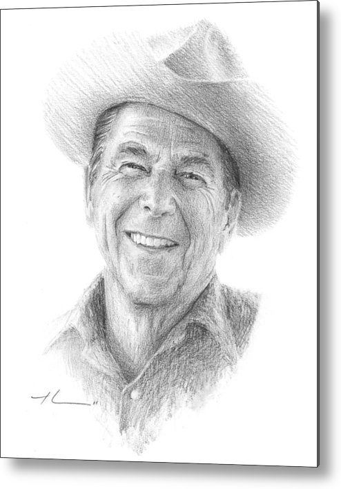 Www.miketheuer.com Metal Print featuring the drawing Reagan Drawing Mike Theuer by Mike Theuer