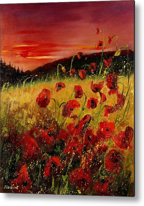Poppies Metal Print featuring the painting Red poppies and sunset by Pol Ledent