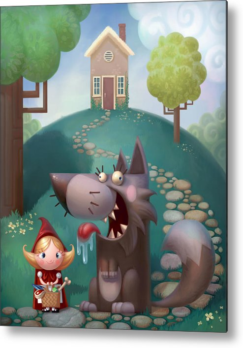 Red Riding Hood Metal Print featuring the painting Red Riding Hood by Adam Ford