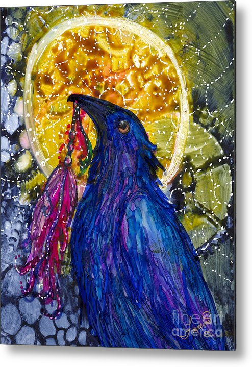Raven Metal Print featuring the painting Reveling Raven by Francine Dufour Jones