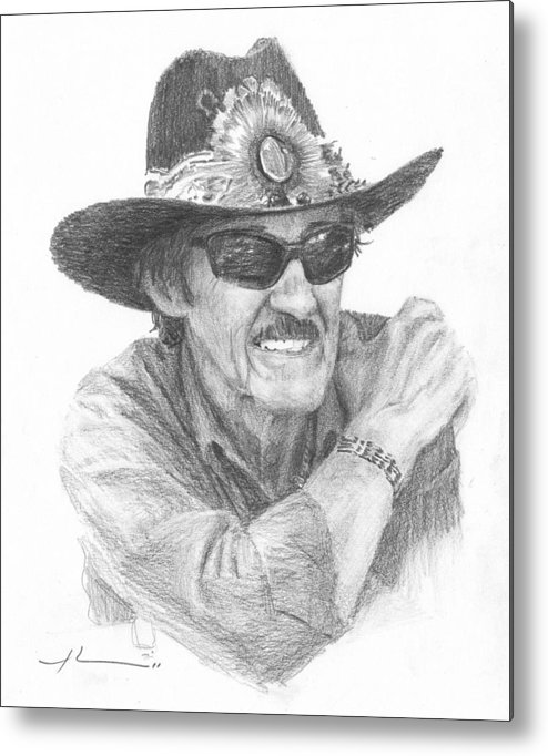 <a Href=http://miketheuer.com Target =_blank>www.miketheuer.com</a> Richard Petty Pencil Portrait Metal Print featuring the drawing Richard Petty Pencil Portrait by Mike Theuer