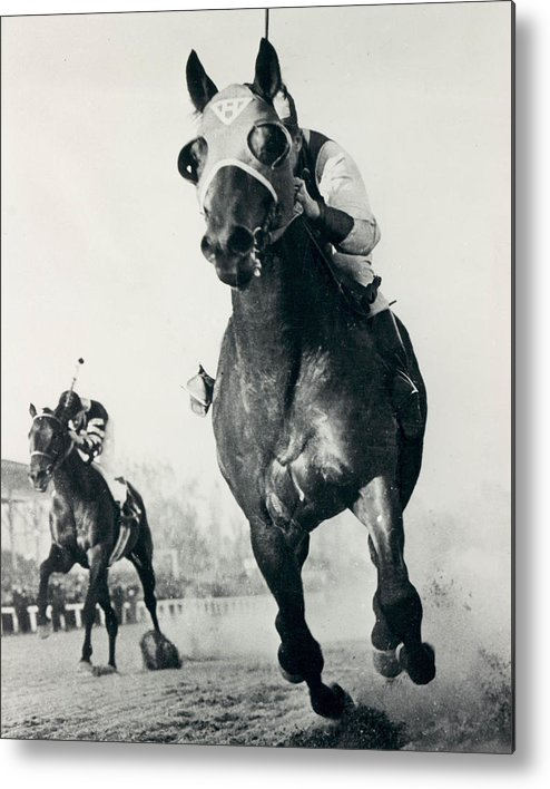 Classic Metal Print featuring the photograph Seabiscuit Horse Racing #3 by Retro Images Archive