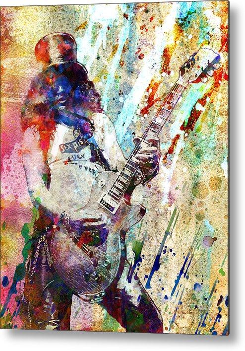 Rock N Roll Metal Print featuring the painting Slash Original by Ryan Rock Artist