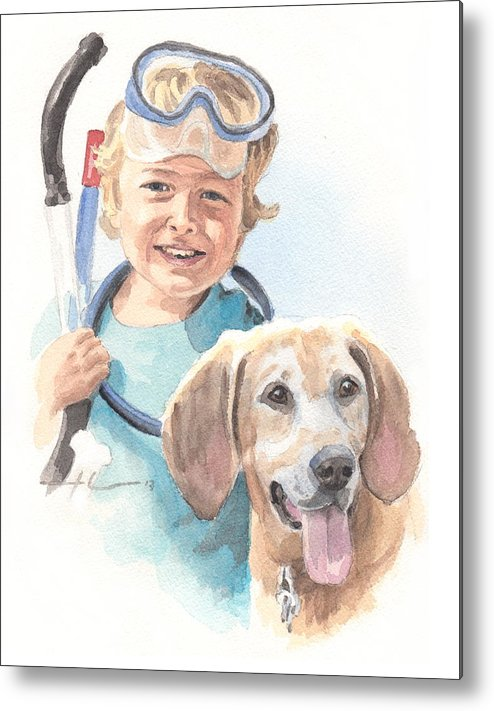 <a Href=http://miketheuer.com Target =_blank>www.miketheuer.com</a> Snorkling Boy And Dog Watercolor Portrait Metal Print featuring the drawing Snorkling Boy And Dog Watercolor Portrait by Mike Theuer