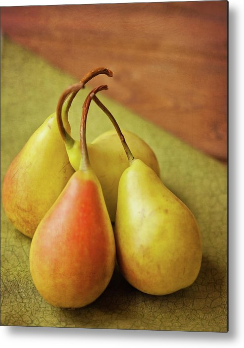 Wood Metal Print featuring the photograph Still Life Of Pears by Carol Yepes