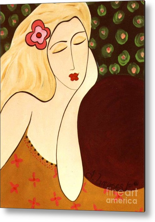 #female #figurative #floral Metal Print featuring the painting Sweet Sixteen by Jacquelinemari
