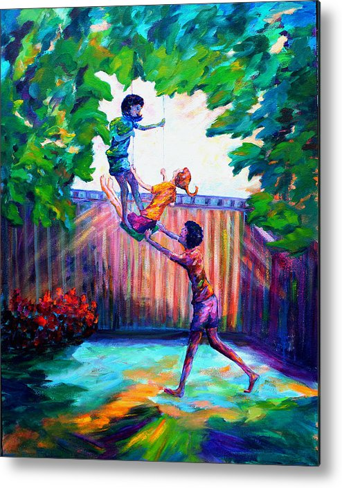 Kids Having Fun Metal Print featuring the painting Swinging With Friends by Naomi Gerrard