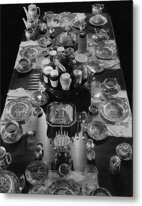 Interior Metal Print featuring the photograph Table Settings On Dining Table by The 3