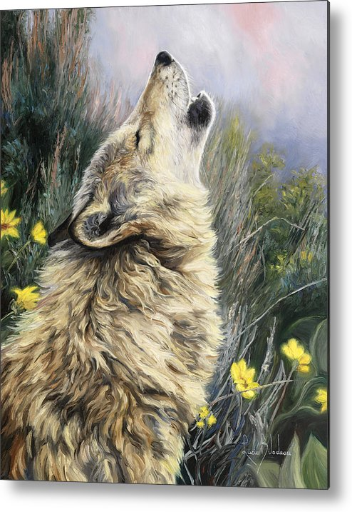 Wolf Metal Print featuring the painting The Call by Lucie Bilodeau