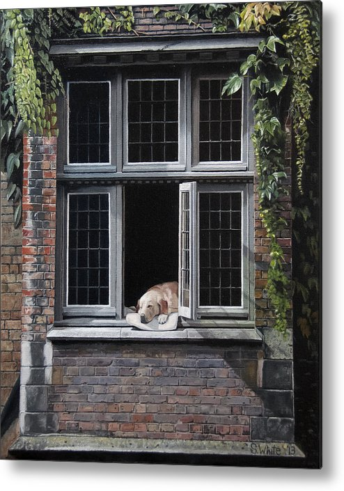Dog Metal Print featuring the painting The Dog of Bruges by Scot White