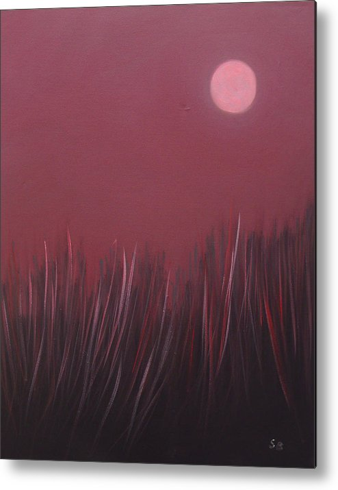 Landscape Metal Print featuring the painting The Dusk by Sergey Bezhinets