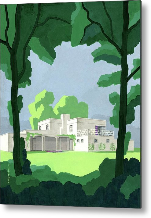 Architecture Metal Print featuring the digital art The Ideal House In House And Gardens by Witold Gordon