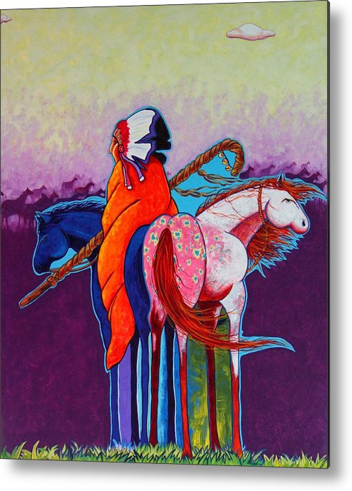 Native American Metal Print featuring the painting The Peacemakers Gift by Joe Triano