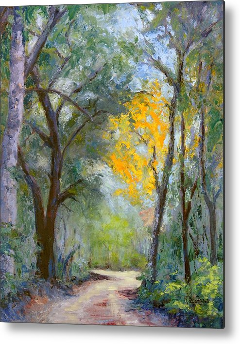 Plein Air Metal Print featuring the painting The Road to Shell Redemption by Cecelia Campbell