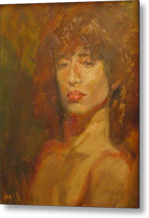 Portrait Metal Print featuring the painting Tracy by Irena Jablonski