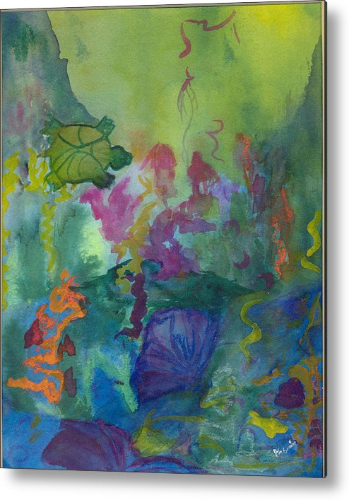 Vibrant Metal Print featuring the painting Under the Sea by Phoenix Simpson