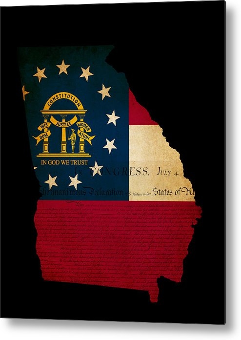 Usa American Georgia State Map Outline With Grunge Effect Flag A Metal Print By Matthew Gibson