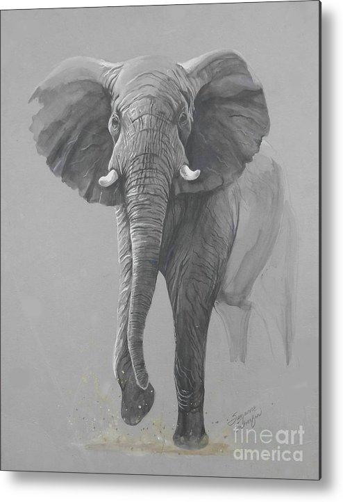 Elephant Metal Print featuring the painting Vanishing Thunder by Suzanne Schaefer