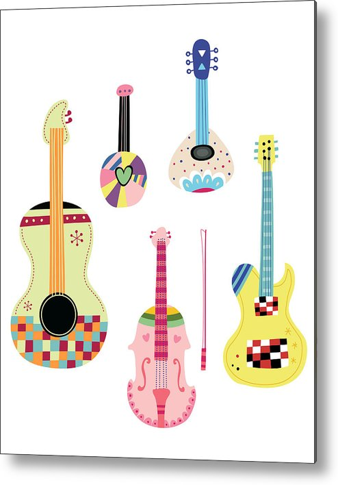 White Background Metal Print featuring the digital art Various Kinds Of Stringed Instruments by Eastnine Inc.