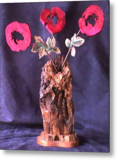 Wood Vase Metal Print featuring the mixed media Vase of Flowers by Tanna Lee M Wells