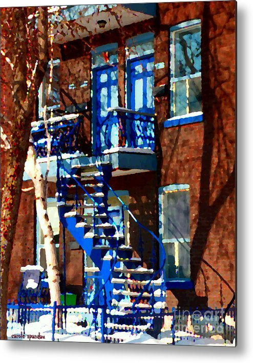 Montreal Metal Print featuring the painting Verdun Duplex Stairs With Birch Tree Montreal Winding Staircases Winter City Scene Carole Spandau by Carole Spandau