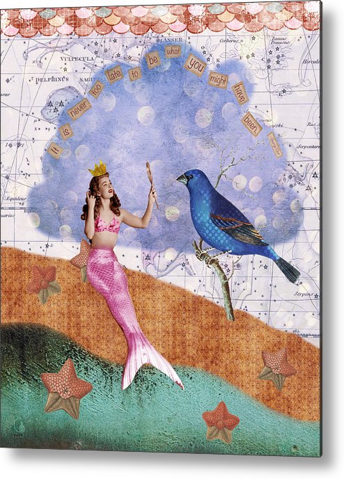 Vintage Collage Metal Print featuring the digital art Vintage Mermaid Bird Collage by Cat Whipple