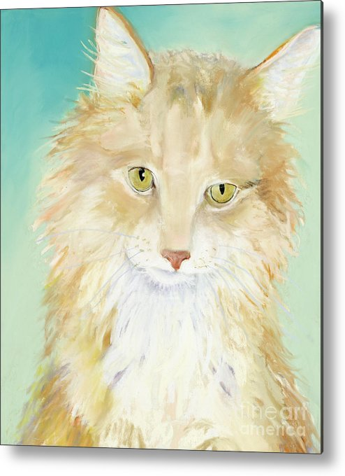 Main Coon Cat Metal Print featuring the painting Willard by Pat Saunders-White