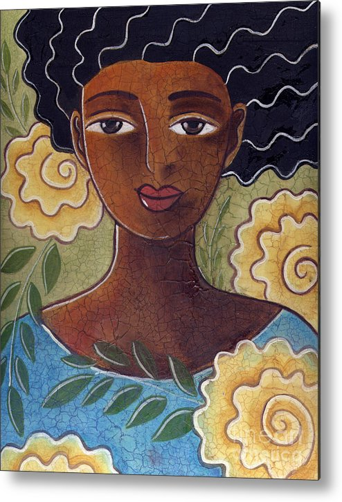 Woman Metal Print featuring the painting Windswept with roses by Elaine Jackson