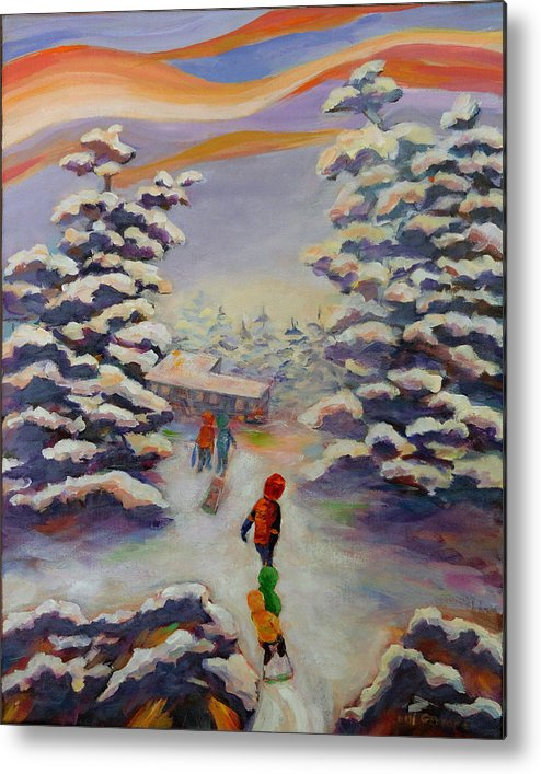 Winter In The Woods Metal Print featuring the painting Winter Comfort by Naomi Gerrard