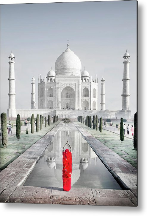 Tranquility Metal Print featuring the photograph Woman In Red Sari Praying At Taj Mahal by Grant Faint