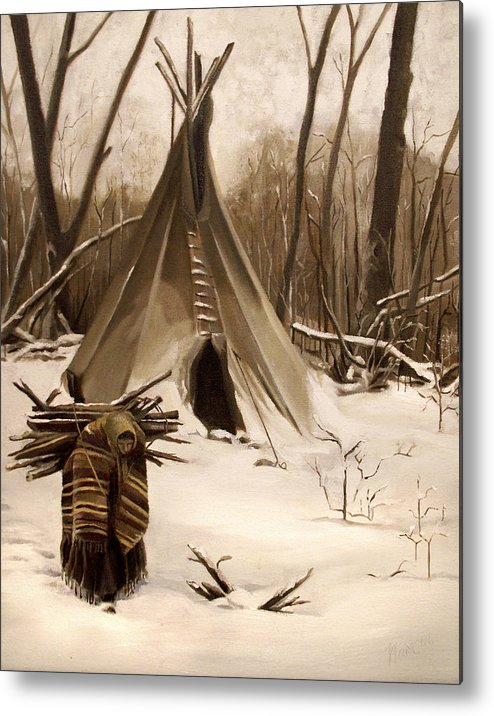 Native American Metal Print featuring the painting Wood Gatherer by Nancy Griswold