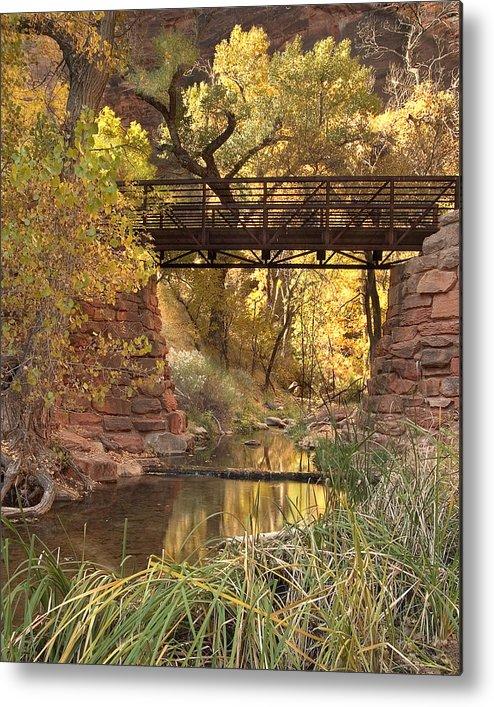 3scape Metal Print featuring the photograph Zion Bridge by Adam Romanowicz