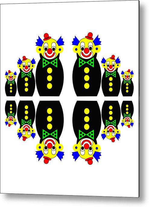 Russian Dolls Metal Print featuring the digital art 12 Russian Clown Dolls by Asbjorn Lonvig